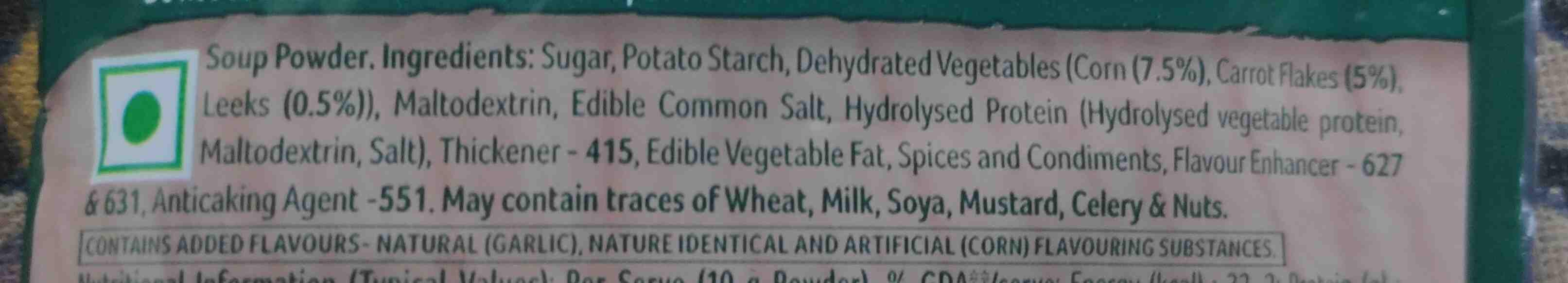 Knorr sweet corn veg soup - Ingredients - en
