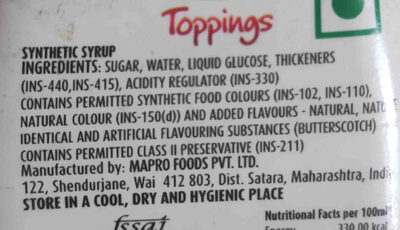 mapro butterscotch syrup - Ingredients - en