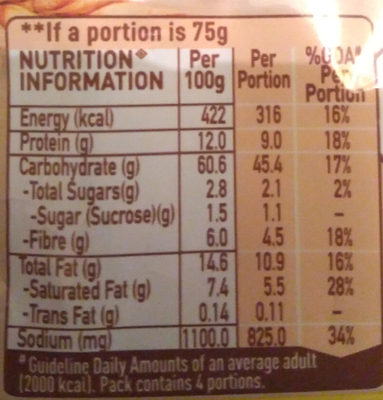 Maggi Atta noodle - Masala - Nutrition facts