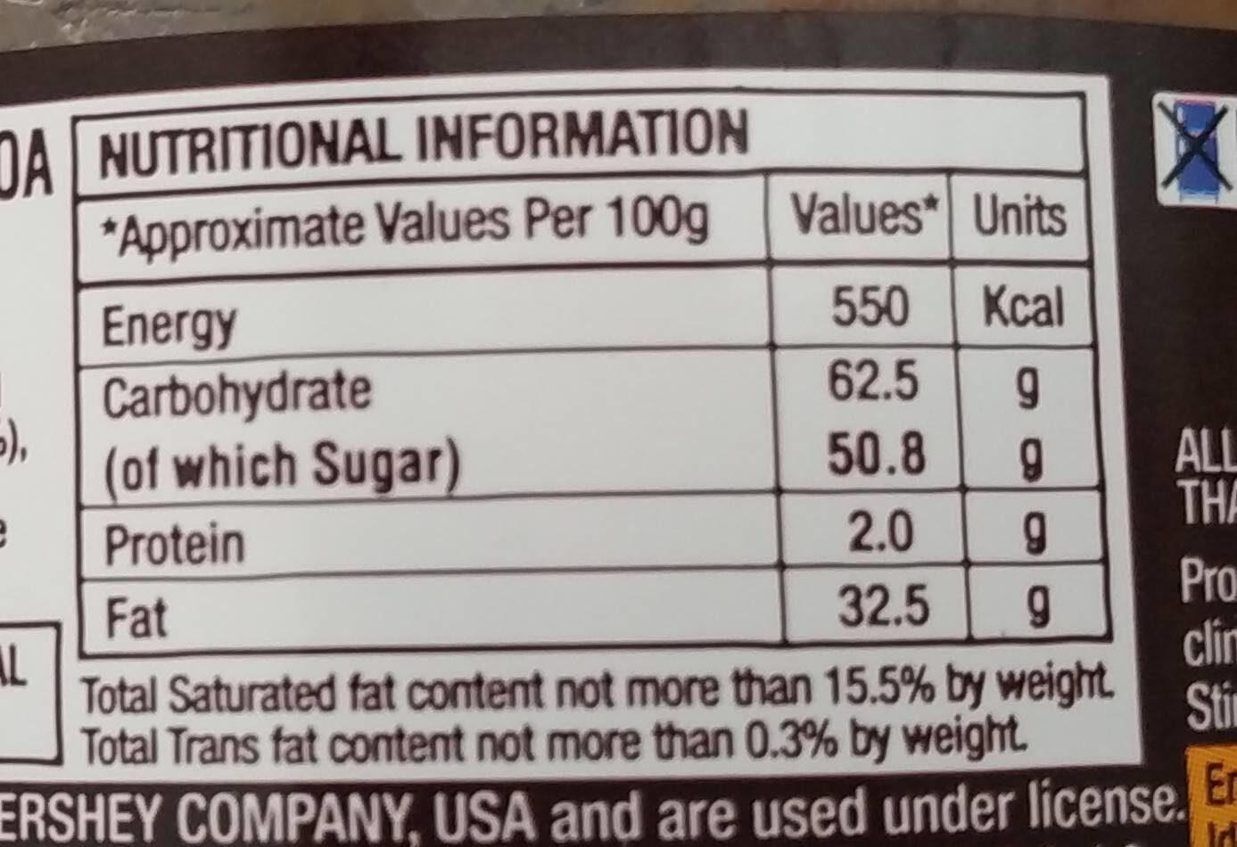 Hershey's spread cocoa - Giá trị dinh dưỡng - fr