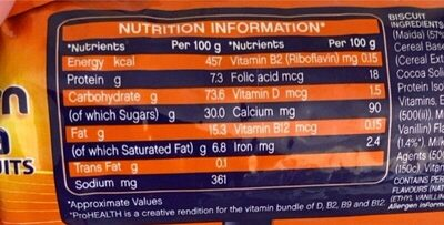 Bournvita biscuit - Nutrition facts - fr