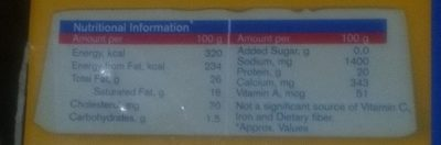Amul Chees - Nutrition facts - en