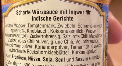 Vindaloo Sauce - Zutaten - de