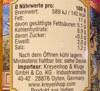 Korma sauce - Nährwertangaben - de