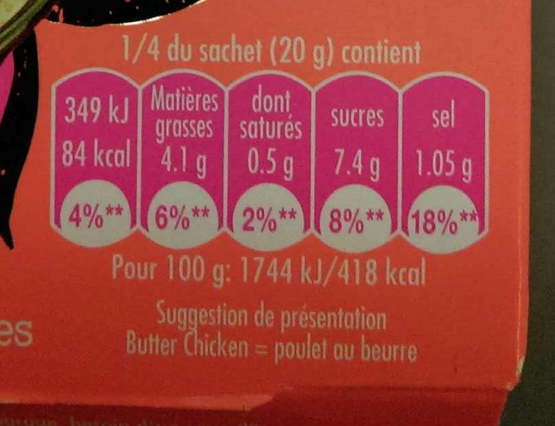 Concentré de saveurs pour Butter Chicken - Voedingswaarden