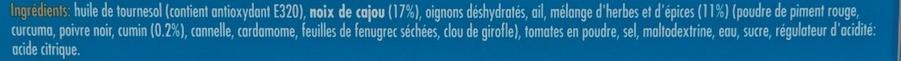 Concentré de saveurs aux épices pour Poulet Shahi Korma - Ingrediënten - fr