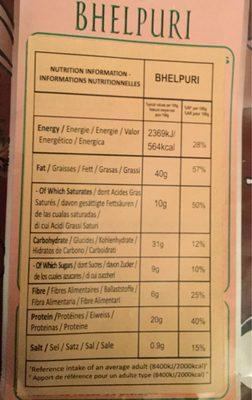 Haldiram Bhel Puri - Nutrition facts