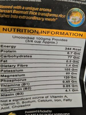 Signature basmati rice - Nutrition facts