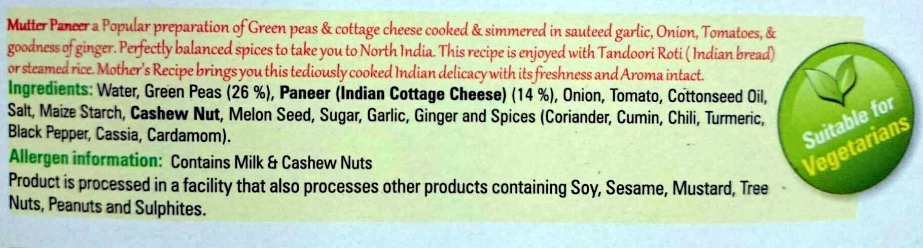 Mutter Paneer - Ingrediënten - en