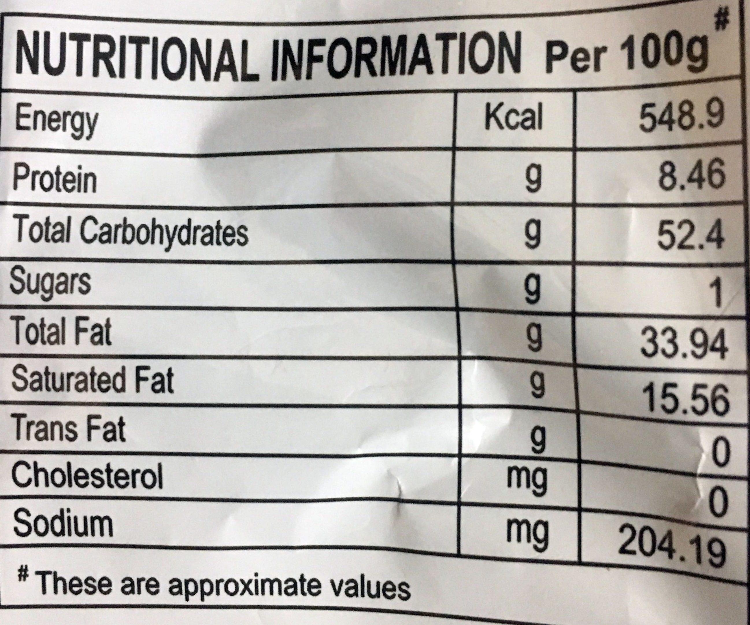 Plain salted potato chips - Informations nutritionnelles - en