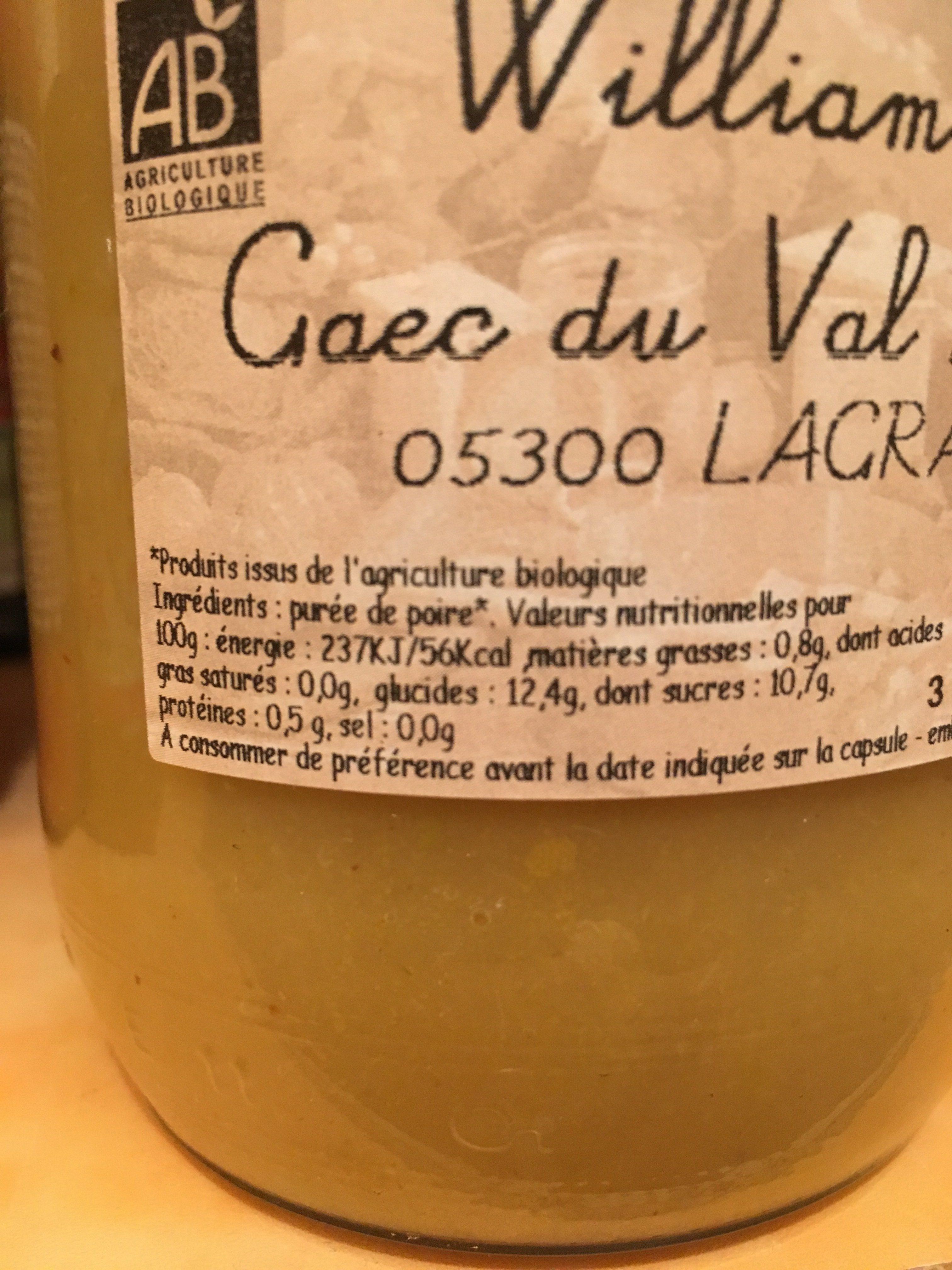 Purée de Poire Williams - Ingredienti - fr