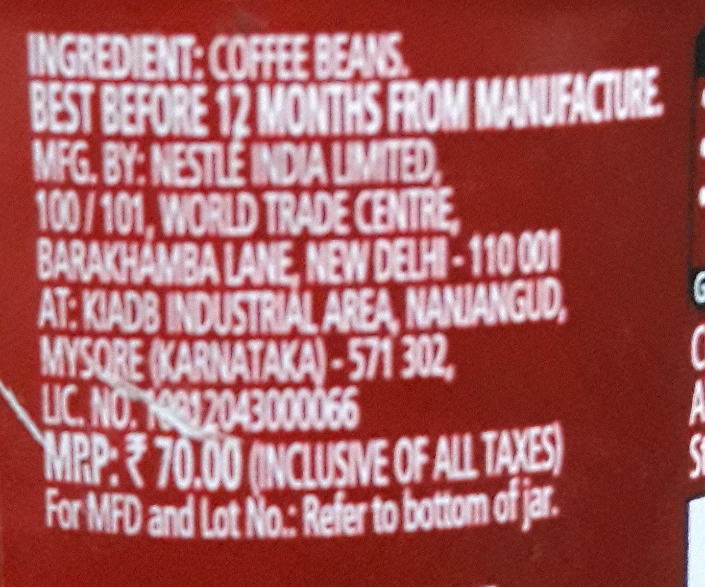 Nescafe Classic - Ingredients - en