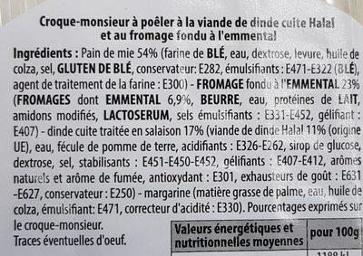 Croque Monsieur Dinde / Fromage *2 - Ingrédients - fr