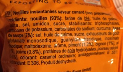 Nouilles instantanees saveur canard - Ingredients