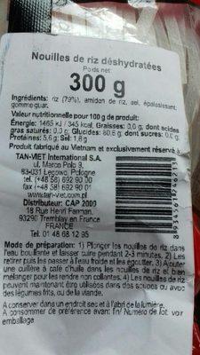 Nouilles de riz déshydratées - Ingredients