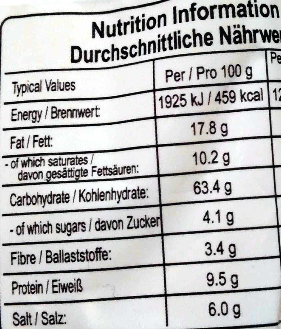 Nouilles chinoises arôme de porc - Informations nutritionnelles