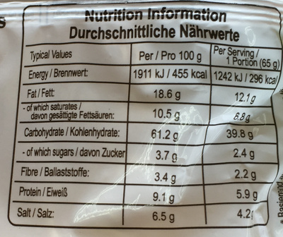 Nouilles instantanées arôme de végétable - Informations nutritionnelles