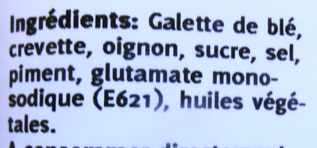 Nems apéritifs aux crevettes piquantes - Ingredients - fr