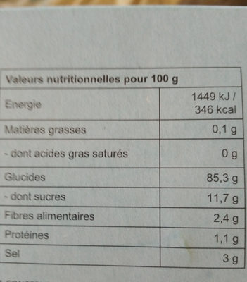 Crevettes chinoises - Información nutricional