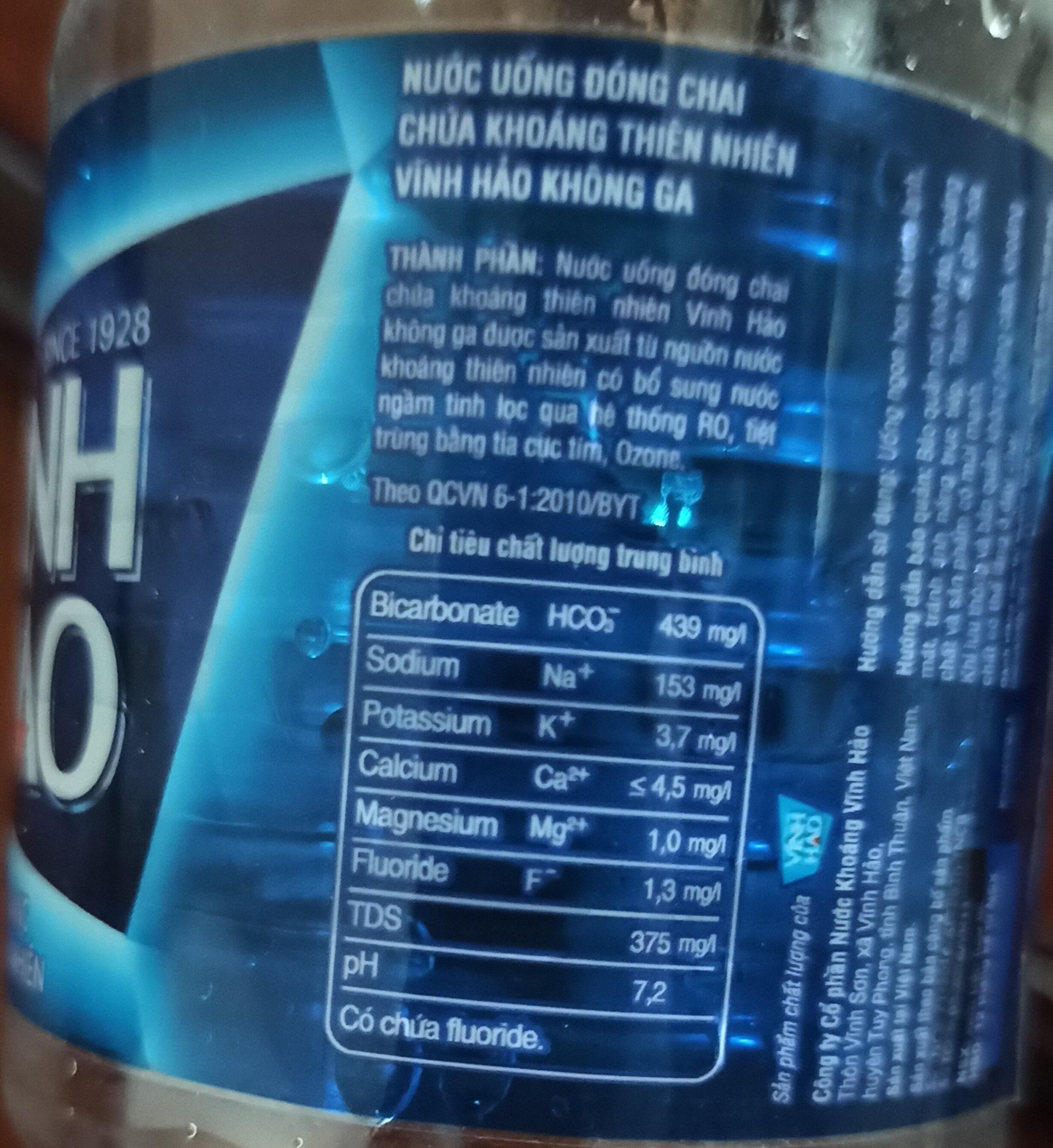 Nước khoáng không ga tự nhiên Vĩnh Hảo - Ingredienti - vi