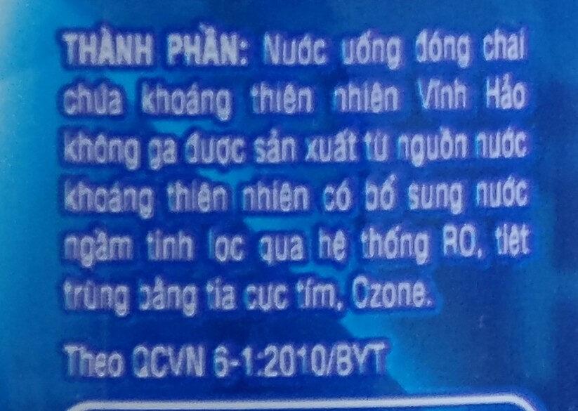 VINH HAO - Thành phần - vi
