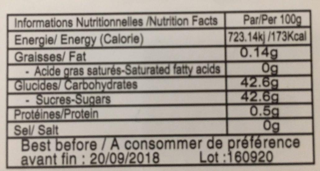 Nougat Chinois - Valori nutrizionali - fr