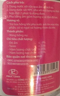 Rose Tea - Nutrition facts