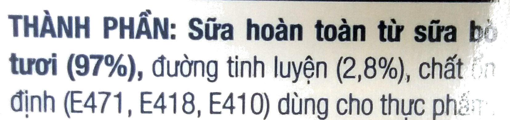 fresh milk less sugar - Thành phần - vi