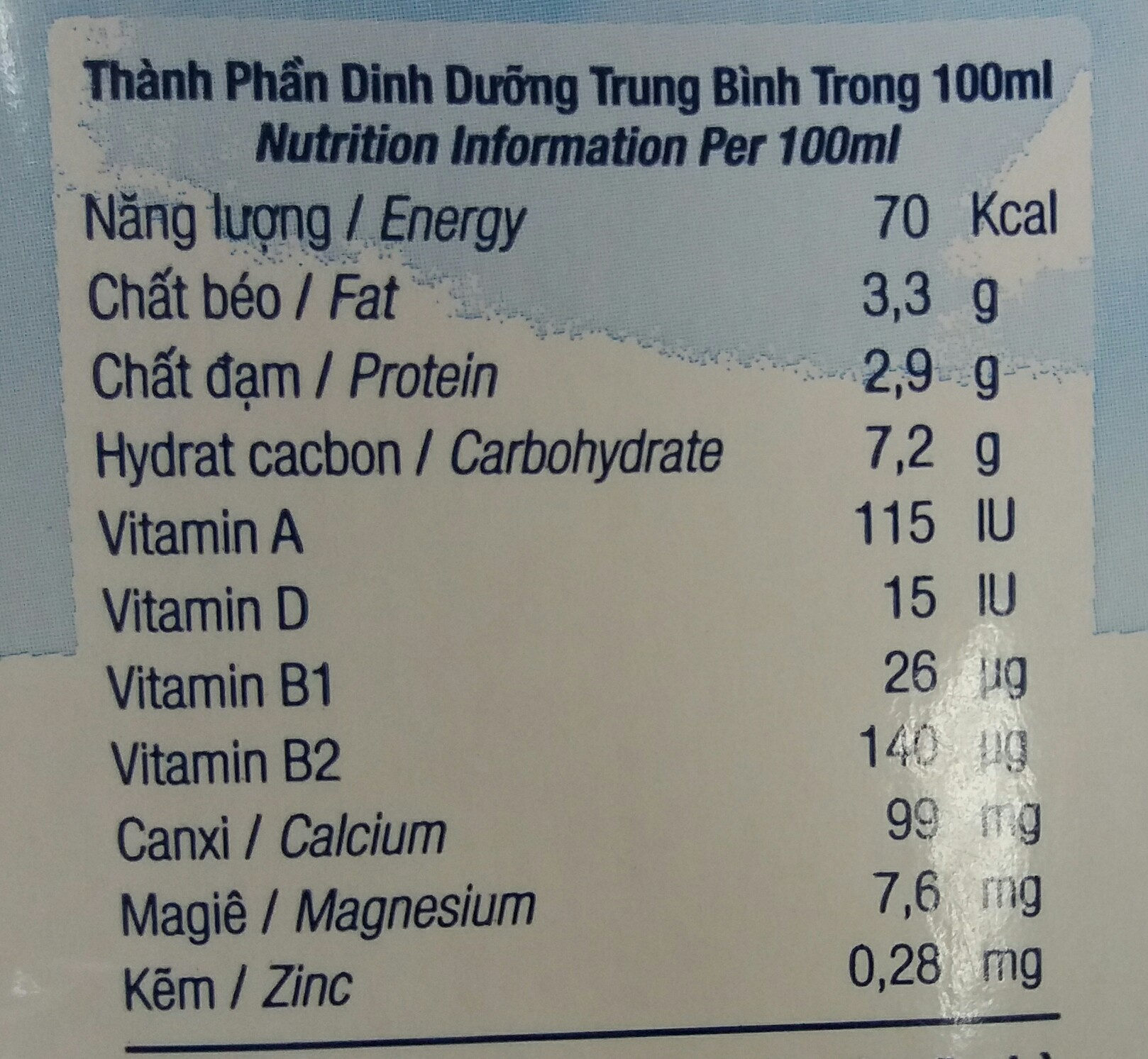 fresh milk less sugar - Giá trị dinh dưỡng - vi