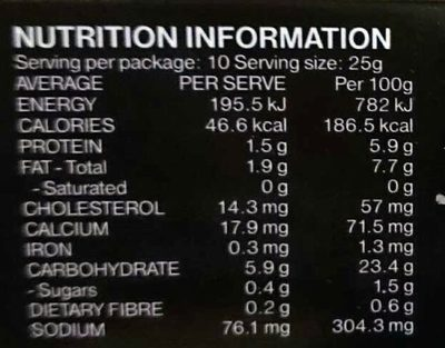 Seafood Chive and Prawn Dumpling - Nutrition facts