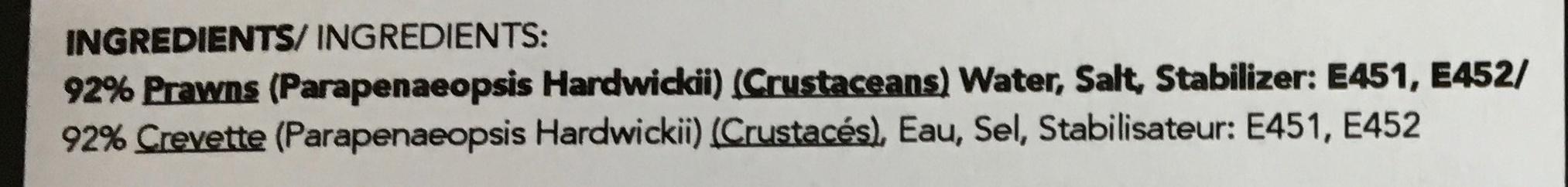 Crevettes congelées cuites et décortiquées - Ingrédients - fr