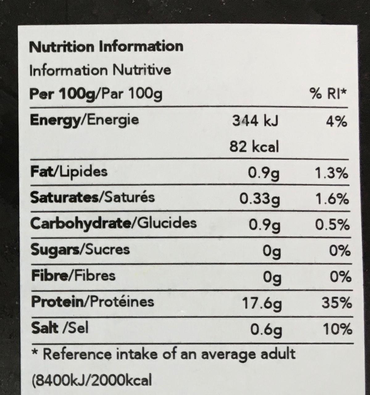 Crevettes congelées cuites et décortiquées - Informations nutritionnelles - fr