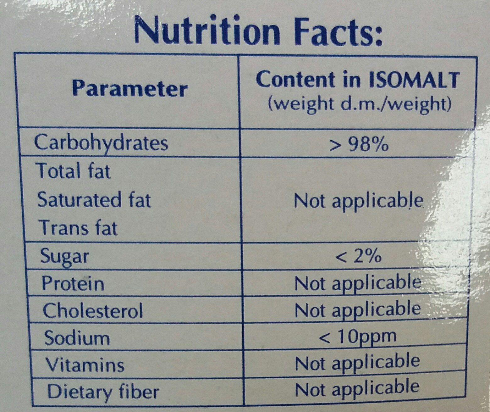 diet sugar - Nutrition facts - vi
