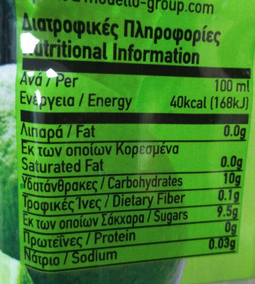 Aloe Vera Mixed Drink - Lime - Nutrition facts