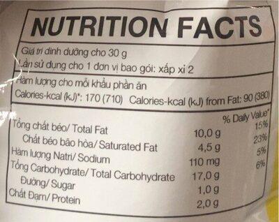 Lays Natural Classic Flavor - Giá trị dinh dưỡng - fr