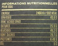 Dong Nai 72% - Informations nutritionnelles - fr
