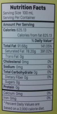 Virgin Coconut Oil - Informations nutritionnelles - en