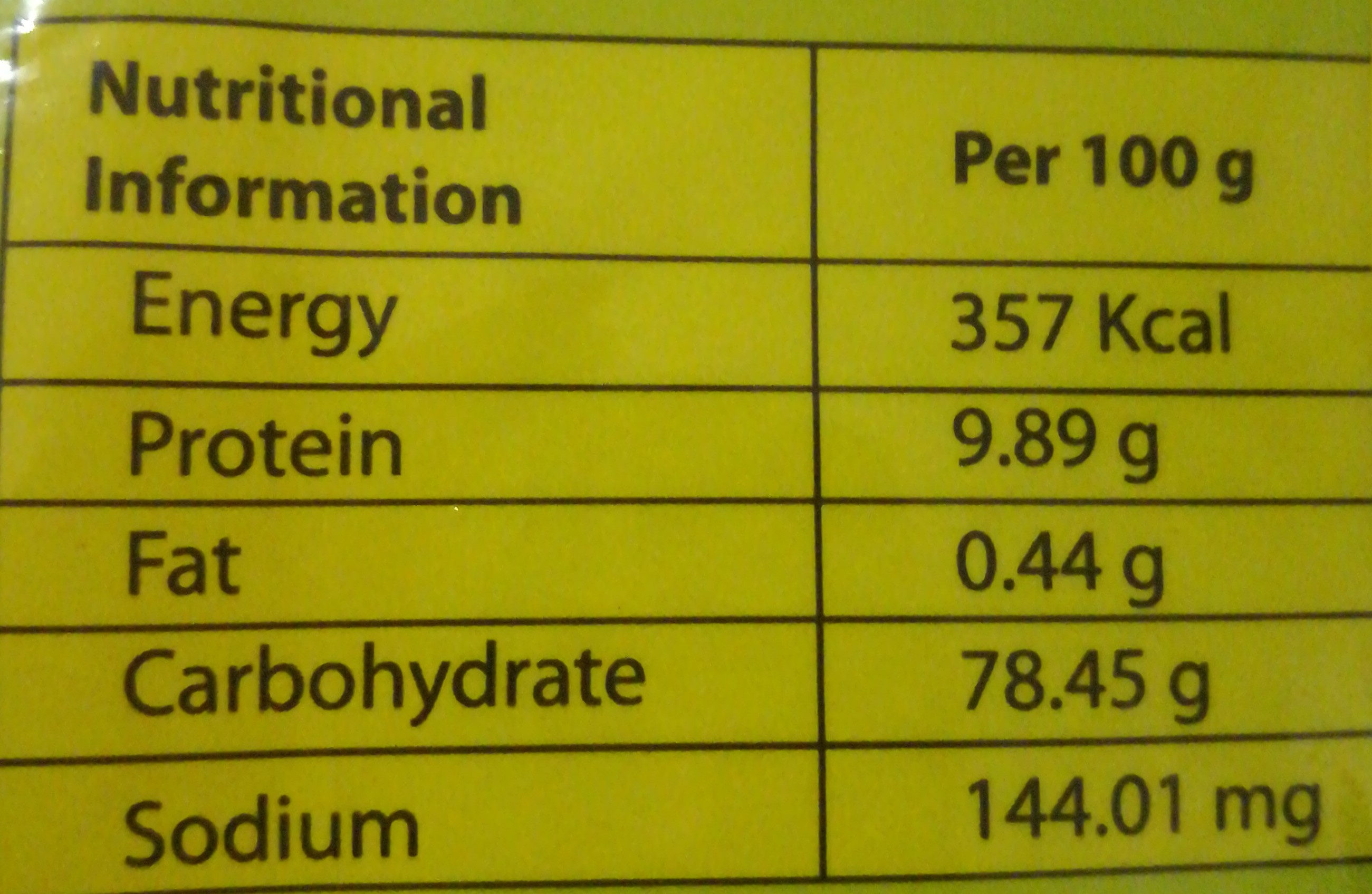 Sajeeb Cook Noodles - Nutrition facts - bn