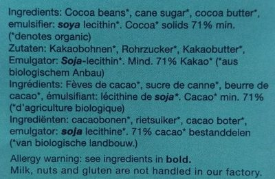 Organic Dark Chocolate 71% - Ingredients