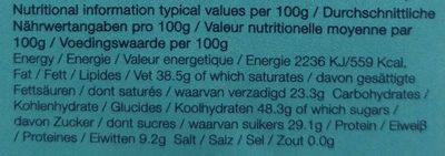 Organic Dark Chocolate 71% - Nutrition facts