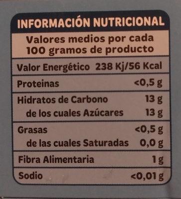 Piña en su jugo - Informations nutritionnelles - es
