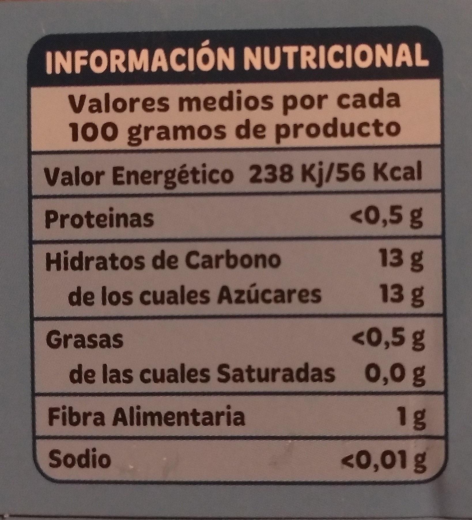 Piña en su jugo - Información nutricional - es