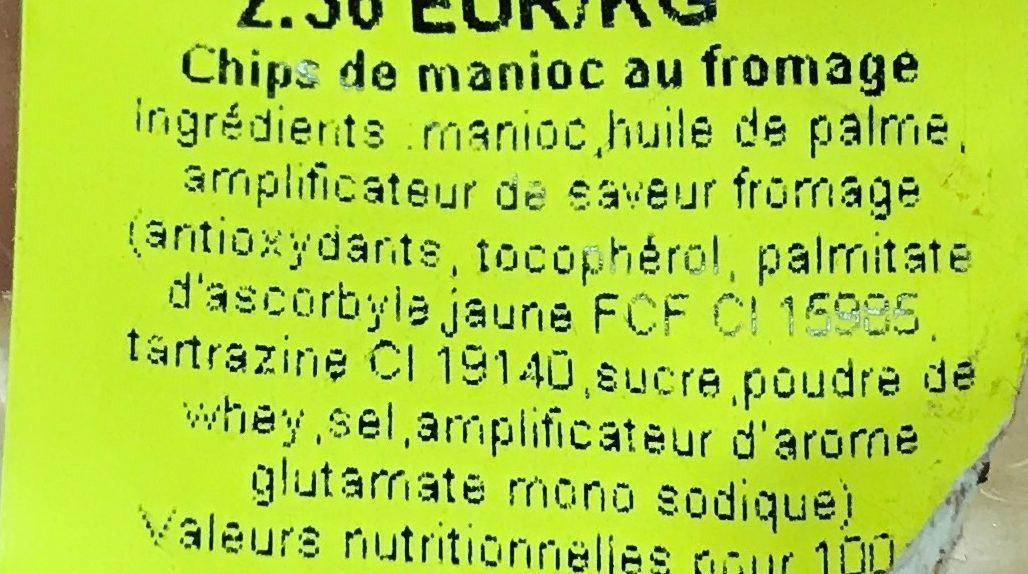 Cheese flavour Cassava Chips - Ingredients