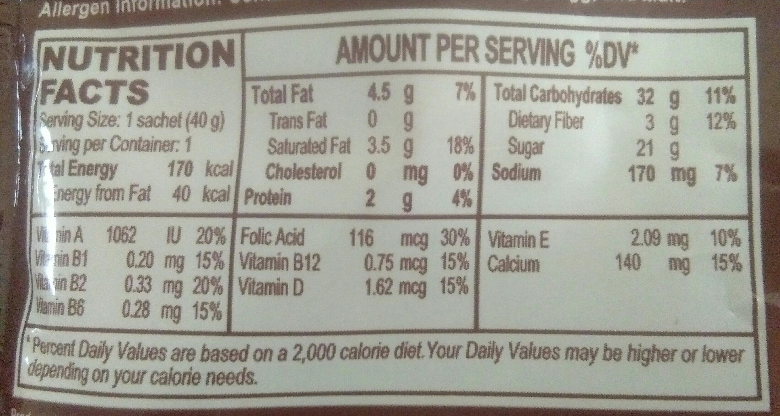 Energen chocolate - Nutrition facts
