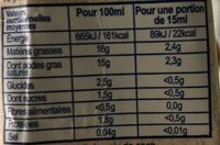 Lait de coco bio - Nutrition facts - id