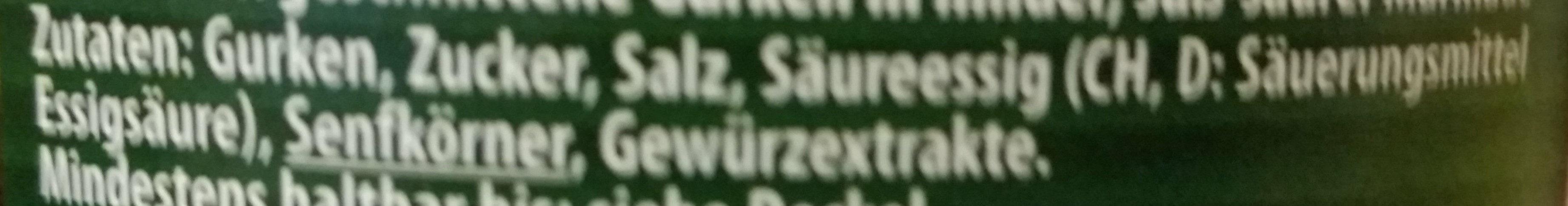 Sandwich Gurken süss-sauer - Ingredients