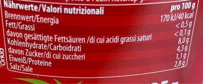 Tomaten Ketchup ohne Zuckerzusatz - Nutrition facts - fr