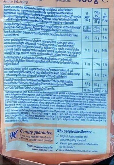 Manner Vienna choco brownie tartlets - Informazioni nutrizionali - fr