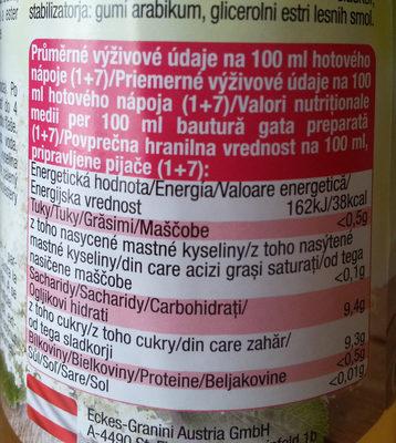 Holunderblüte Blütensirup - Výživové údaje - cs