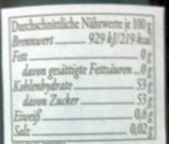 Feinste Himbeeren - Nutrition facts